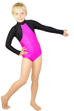 """Kinder Gymnastikanzug """"Franzi"""" schwarz-pink (Hauptfläche)"""