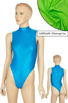 Damen Wetlook Stringbody ohne Ärmel Kragen Rücken-RV neongrün