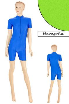 Damen Fitnessanzug Front-RV kurze Ärmel Radlerbeine Neongrün