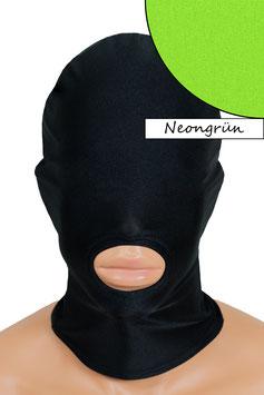 Kopfhaube (Maske) neongrün, Mund offen