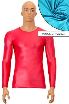 Herren Wetlook T-Shirt lange Ärmel türkis