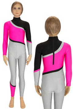 "Kinder Gymnastikanzug + Leggings ""Nina"" schwarz-pink-silber"