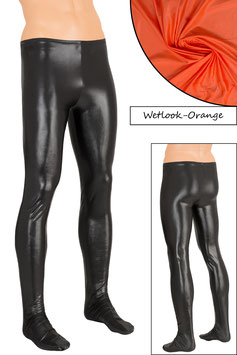 Herren Wetlook Leggings mit Fuss orange
