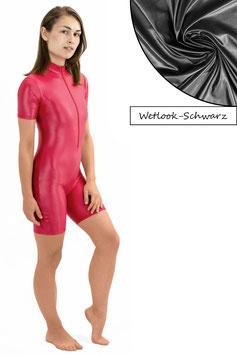 Damen Wetlook Ganzanzug kurze Ärmel und Beine FRV schwarz
