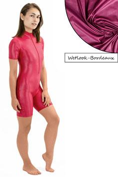 Damen Wetlook Ganzanzug kurze Ärmel und Beine FRV bordeaux