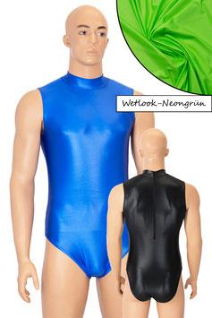 Herren Wetlook Body ohne Ärmel Rücken-RV neongrün