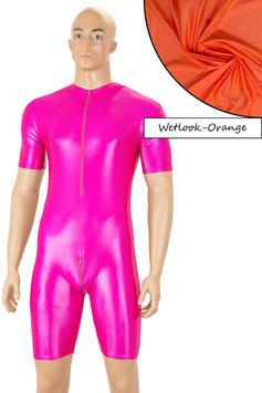 Herren Wetlook Ganzanzug kurze Ärmel kurze Beine FRV+SRV orange
