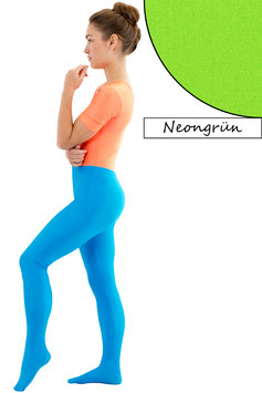 Damen Leggings mit Fuß neongrün