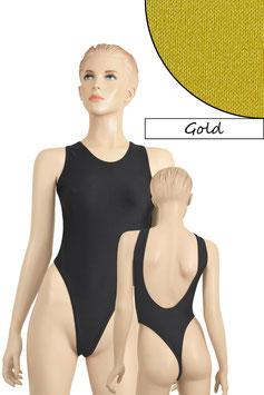 Damen Stringbody tiefer Rückenausschnitt Gold