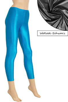 Damen Wetlook Leggings schwarz