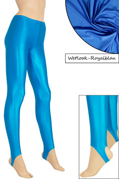 Damen Wetlook Leggings mit Schritt-RV royalblau
