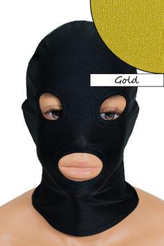 Kopfhaube (Maske) gold, mit Löchern für Mund und Augen
