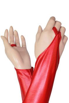 Wetlook Armstulpen mit Schlaufe rot