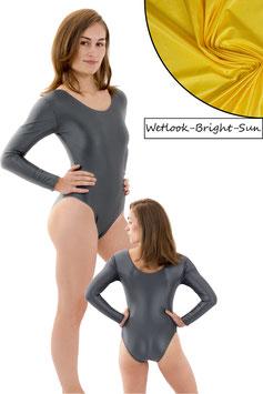 Damen Wetlook Body lange Ärmel Bright-Sun