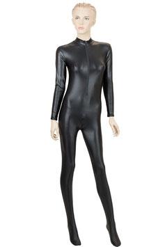 Damen Wetlook Ganzanzug FRV+SRV+Fuß schwarz