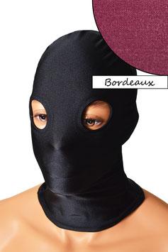 Kopfhaube (Maske) bordeaux, mit Löchern für Augen