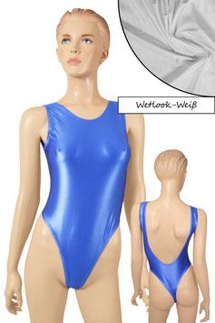 Damen Wetlook Stringbody ohne Ärmel tiefer Rückenausschnitt weiß