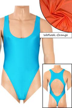 Herren Wetlook Stringbody Boxerschnitt und freier Rücken orange