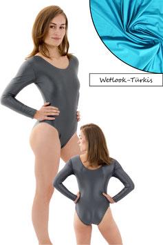 Damen Wetlook Body lange Ärmel Türkis