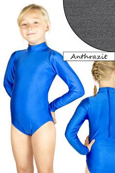 Kinder Gymnastikanzug lange Ärmel Kragen Rücken-RV anthrazit