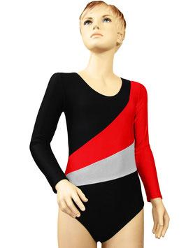 """Kinder Gymnastikanzug """"Diana"""" schwarz-rot-silber"""