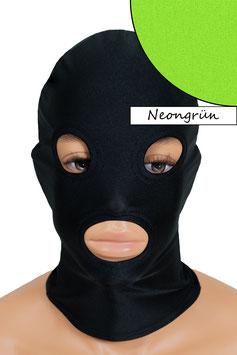Kopfhaube (Maske) neongrün, mit Löchern für Mund und Augen