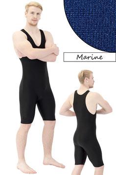 Herren Fitnessganzanzug Radlerbeine Boxerschnitt marine