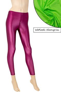 Damen Wetlook Leggings mit Schritt-RV neongrün