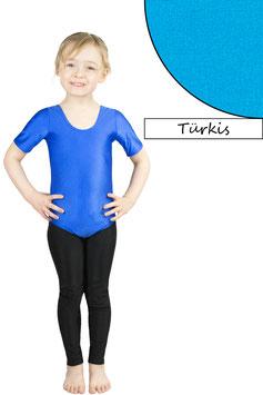 Kinder Gymnastikanzug kurze Ärmel türkis