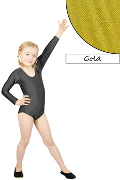 Kinder Gymnastikanzug lange Ärmel gold