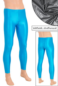 Herren Wetlook Leggings mit Schritt-RV anthrazit