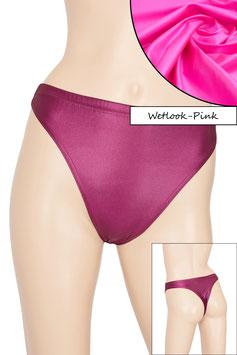 Damen Wetlook String-Slip pink