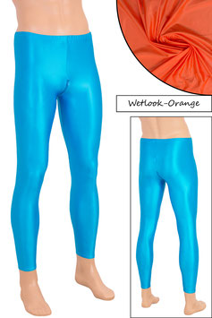 Herren Wetlook Leggings mit Schritt-RV orange