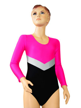 """Kinder Gymnastikanzug """"Annabell"""" pink-silber-schwarz"""