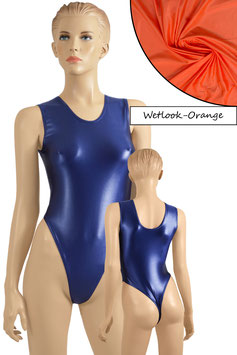 Damen Wetlook Stringbody ohne Ärmel orange
