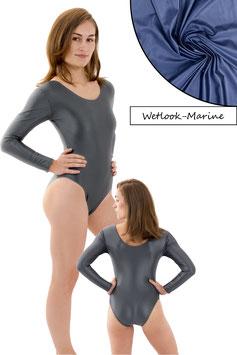 Damen Wetlook Body lange Ärmel Marine