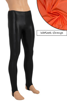 Herren Wetlook Leggings mit Steg orange