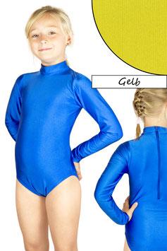 Kinder Gymnastikanzug lange Ärmel Kragen Rücken-RV gelb