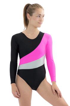 "Damen Turnanzug ""Diana"" dreifarbig schwarz-pink-silber"