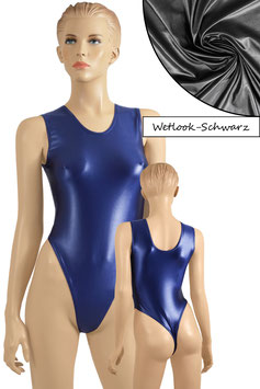 Damen Wetlook Stringbody ohne Ärmel schwarz