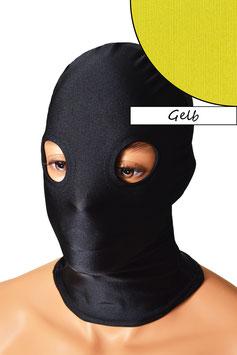Kopfhaube (Maske) gelb, mit Löchern für Augen