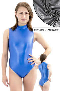 Damen Wetlook Body ohne Ärmel RRV Anthrazit
