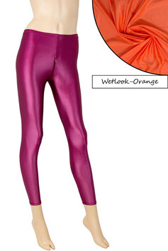 Damen Wetlook Leggings mit Schritt-RV orange