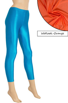 Damen Wetlook Leggings orange