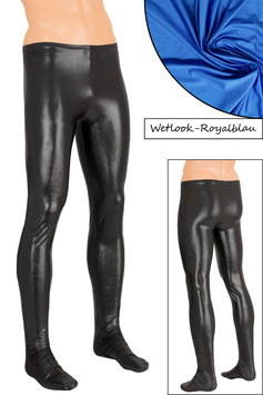 Herren Wetlook Leggings mit Fuss royalblau