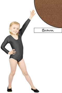 Kinder Gymnastikanzug lange Ärmel braun