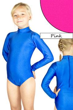 Kinder Gymnastikanzug lange Ärmel Kragen Rücken-RV pink