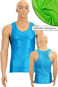 Herren Wetlook Boxerhemd Slim Fit neongrün