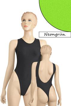 Damen Stringbody tiefer Rückenausschnitt Neongrün