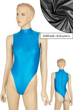 Damen Wetlook Stringbody ohne Ärmel Kragen Rücken-RV schwarz